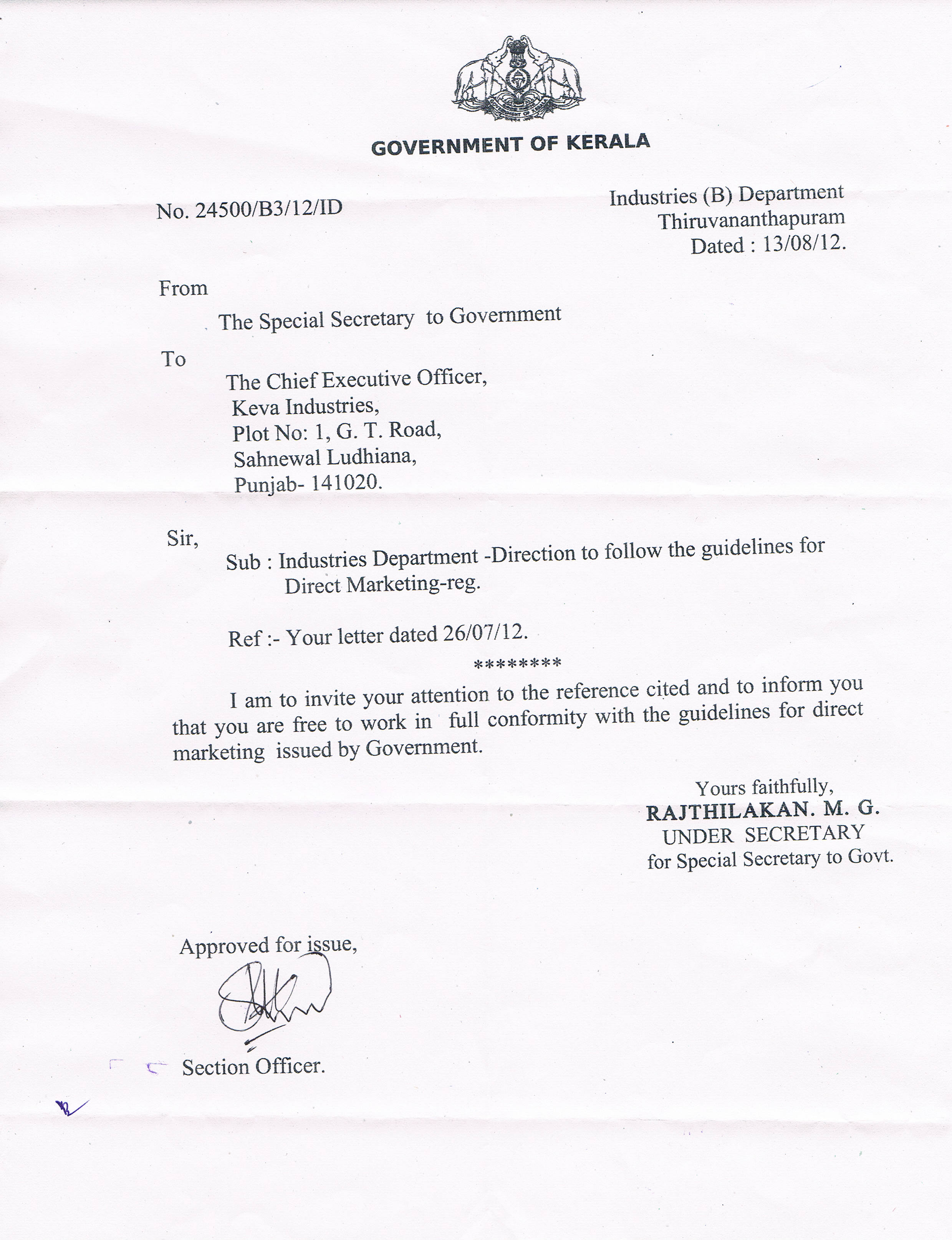 NOC (No Objection Certificate) From Kerala Govt. For Direct Selling  No Objection Letter For Business
